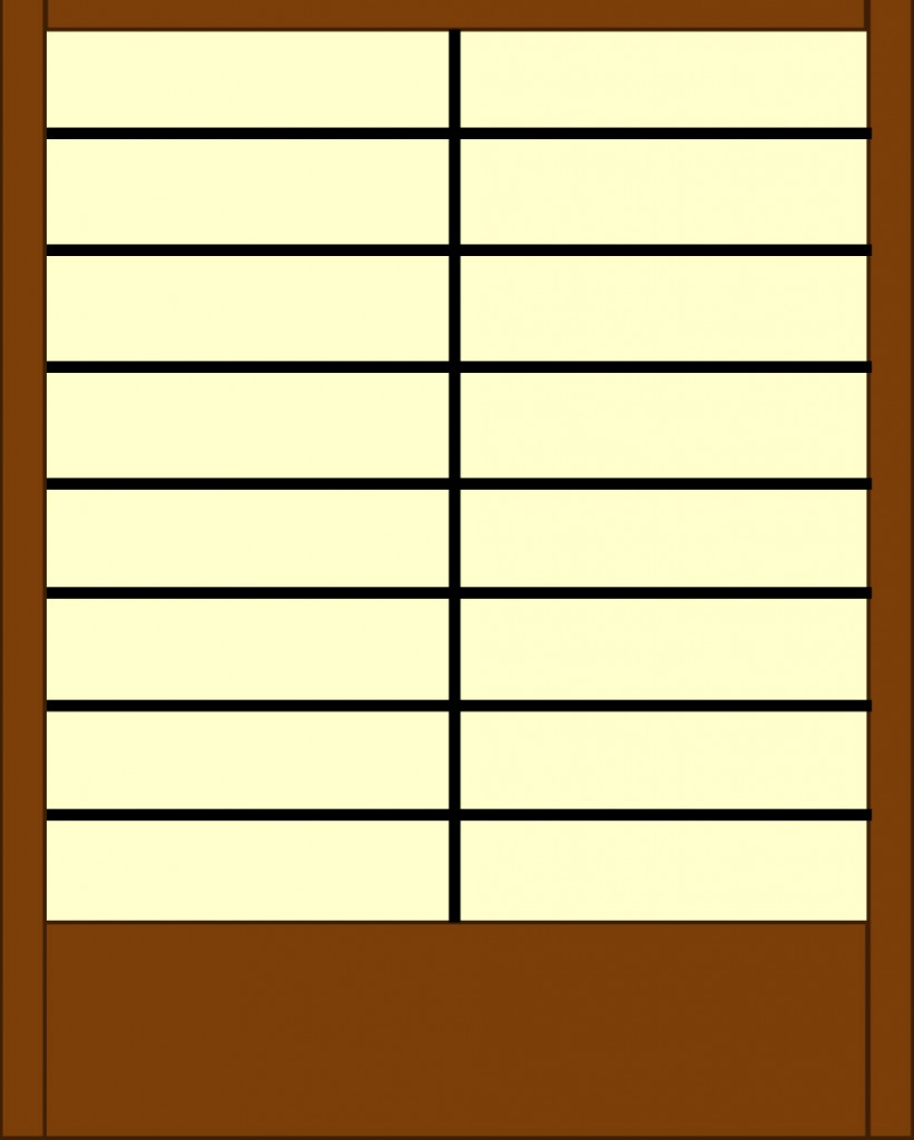 Straight cuts allow for plenty of design variation while allowing for easy construction. Here the choice of frame, color of glass, and thickness of came combine to suggest a shoji screen.