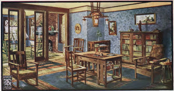 An illustration from one of Limbert's booklets showing a library furnished with pieces by the company.